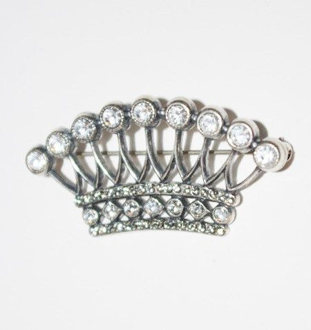 CROWN PIN Silver Tone with Clear Stones  T276 by MardiGrasShoppe