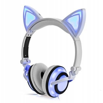 Just US$18.49 + free shipping, buy Cute Foldable Flashing Cat Ear Headphones online shopping at GearBest.com.