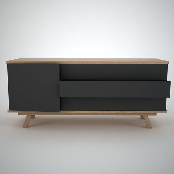 Ottawa - Contemporary Sideboard. Finished in Anthracite and Oak. 1 Door and 3 long drawers with push release handless fronts.