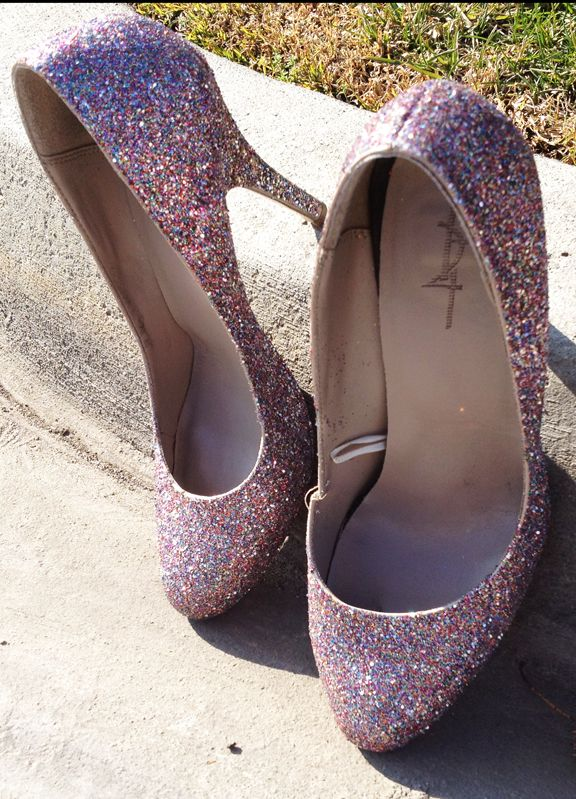 DIY Glitter shoes!  Jen... Let's make obnoxious shoes and wear them on our next girls day!