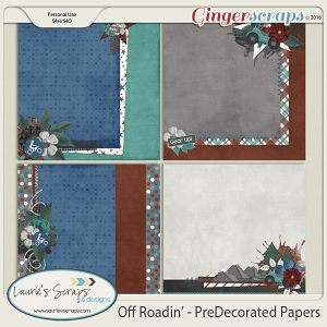 $1 thru 9/7/16 - Off Roadin' - PreDecorated Papers