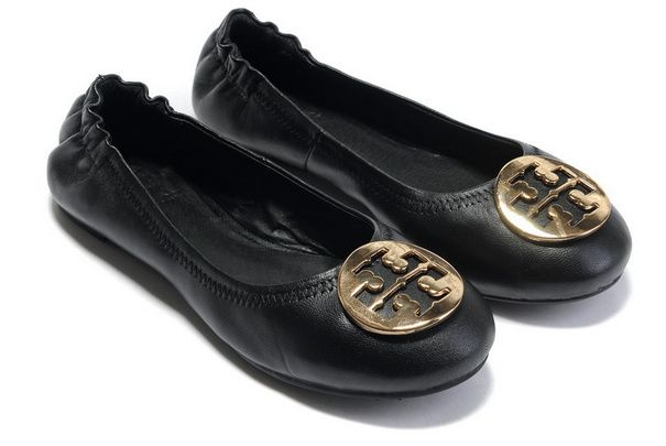 TORY BURCH  FLATS WITH GOLD LOGO BALLERINA BLACK