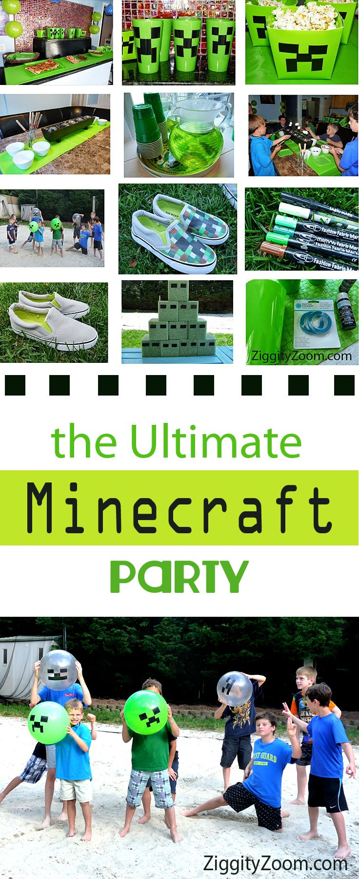 Minecraft party ideas for kids who love Minecraft- boys party ideas- green party colors- minecraft block shoes