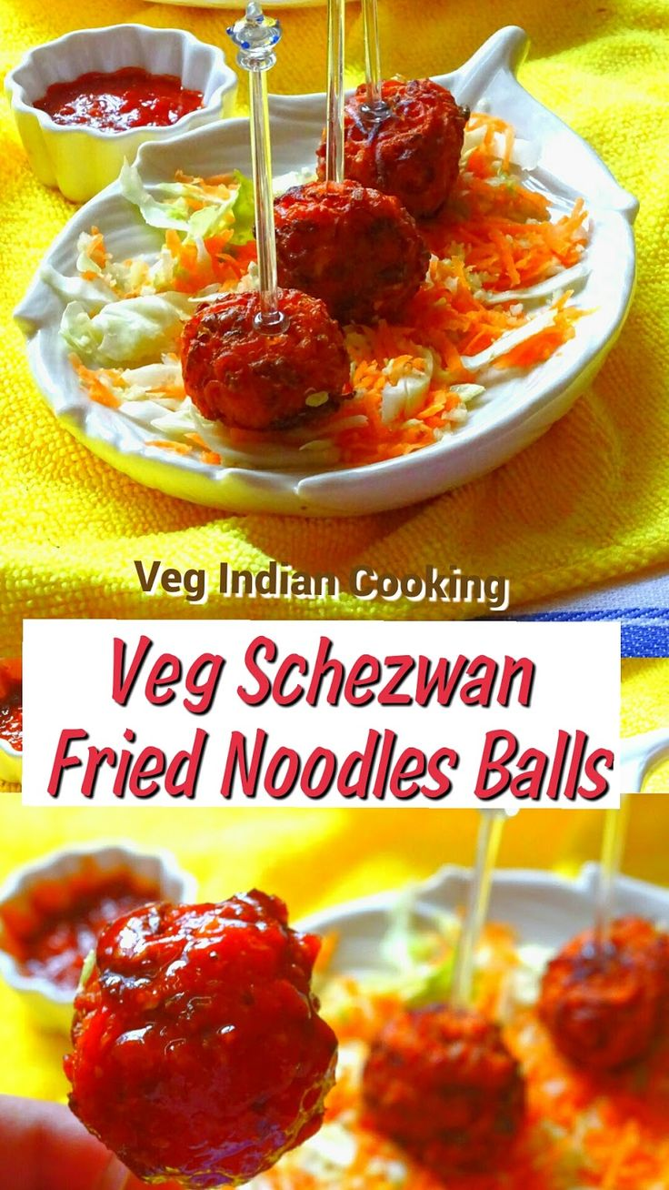 VEG SCHEZWAN FRIED NOODLES BALLS http://vegindiangoodfood.blogspot.in/2016/06/veg-schezwan-noodles-balls.html  Veg Schezwan Fried Noodles Balls are very tempting, crispy, spicy and flavorful snack recipe which are made with noodles, veggies and spiced with Schezwan chutney. This is  easy and quick snack which is prepared within 15-20 minutes. It is perfect tea time snack recipe.  #indianrecipes #indianfood #indochinese #foodblogger #snacks #noodlesballs #indiansnacks #schezwan  #manchurian…