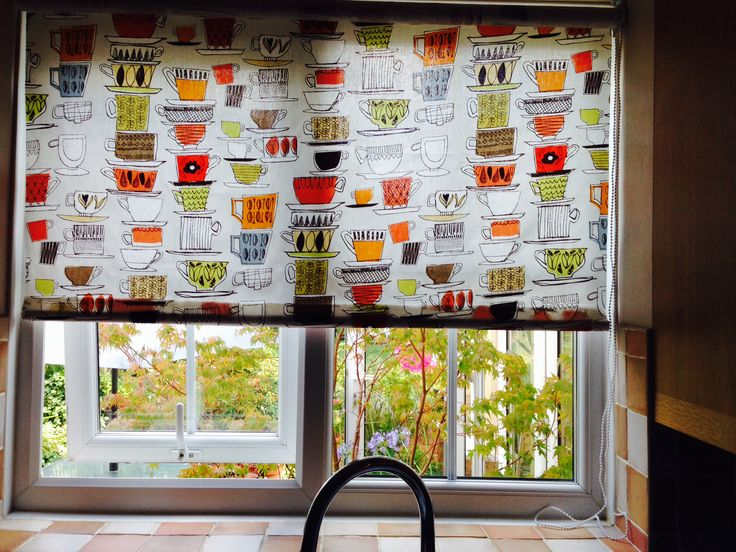 homemade roller blind for the kitchen window made by me 0