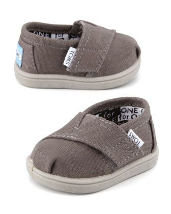 Classic Canvas Slip-On, Ash, Tiny  by TOMS at Neiman Marcus.