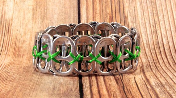 Upcycled Soda Can Tab Bracelet  Green