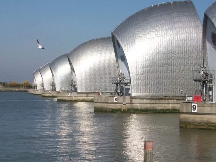 The Thames Barrier is the world's second-largest movable flood barrier and is located downstream of central London and also near our gorgeous apartments. Its purpose is to prevent London from being flooded by exceptionally high tides and storm surges moving up from the sea.