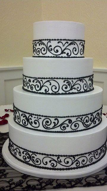 Black And White Wedding Cake White Tiers To Plain