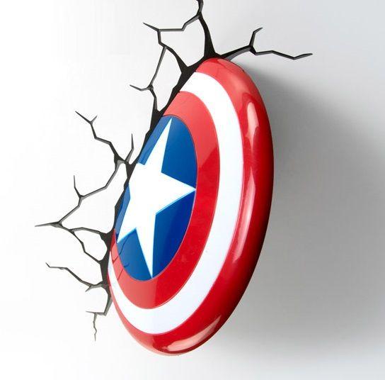avengers fx deco led light captain america shield wall decoration mount new