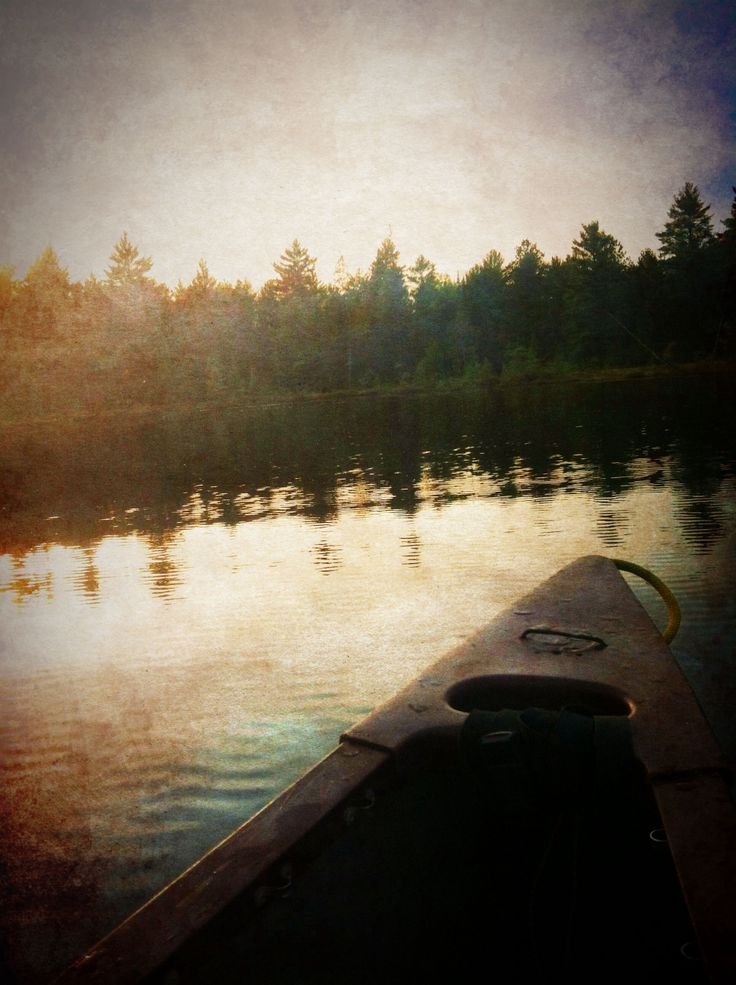 Late evening canoeing on a summer night