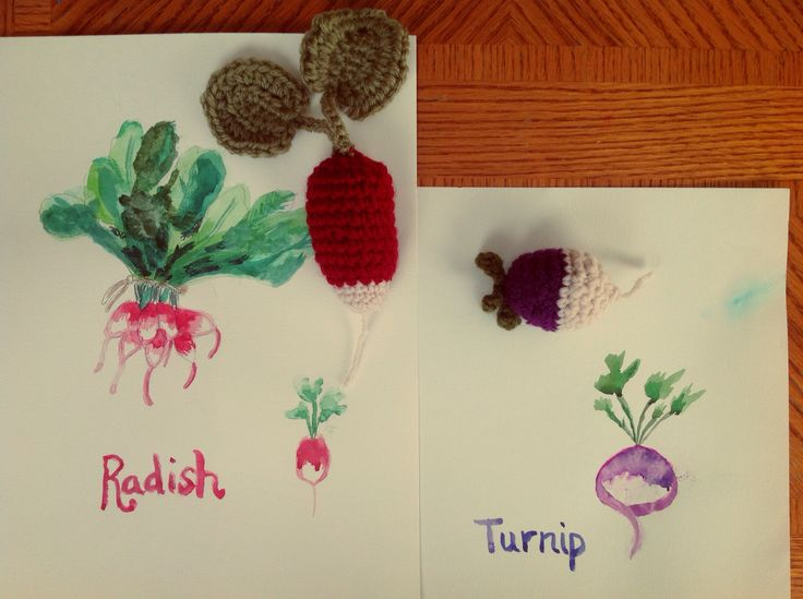 Watercolor veggies with crocheted art piece.