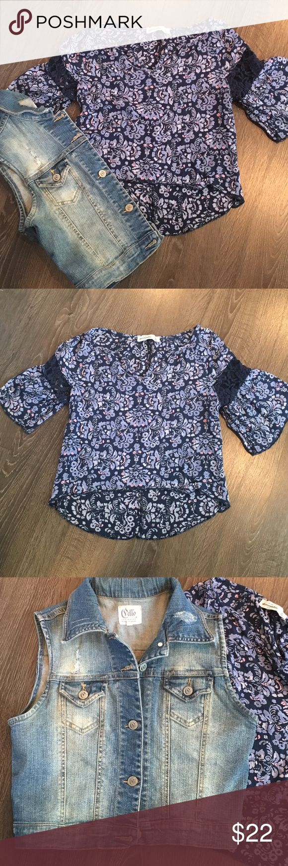 Abercrombie girls top and Cello Denim vest Abercrombie lightweight peasant blouse with bell sleeves and lace detail (gently used), Cello Denim distressed vest (EUC). Both girls size medium. Will sell separately if requested. 🌸automatically save when you bundle or make an offer🌸 abercrombie kids Matching Sets