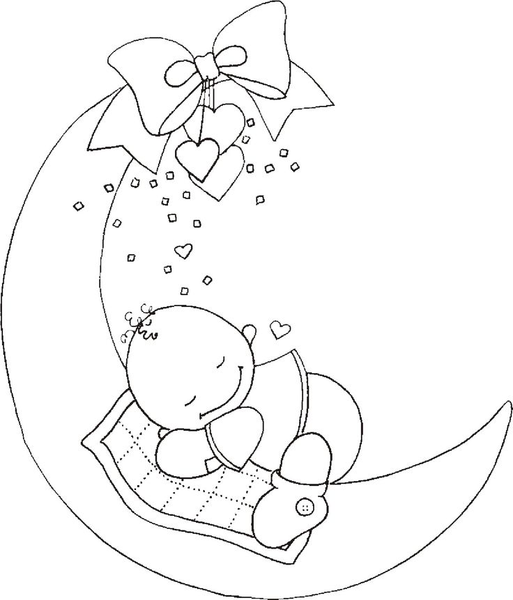 sleeping baby on moon on mundo encantado do artesanato - Coloring Pages Babies Sleeping