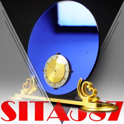 1930s swiss arthur imhof art deco mantel clock blue mirror gold the - Mantel Der Ideen Mit Uhr Verziert