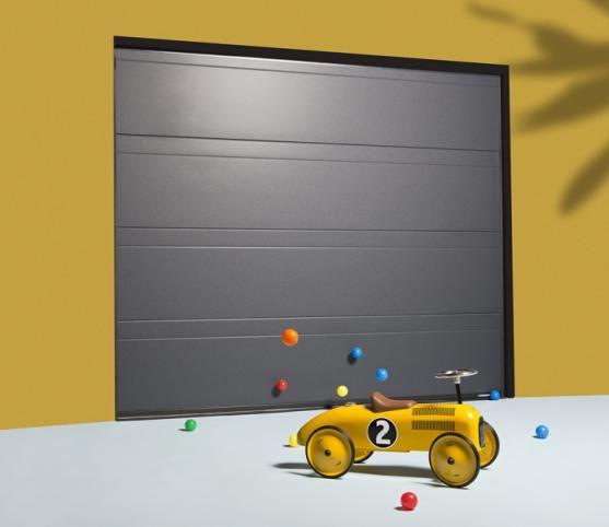Porte de garage sectionnelle rainure haute de couleur Gris anthracite texturé