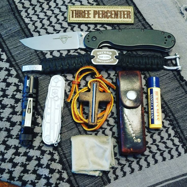 My #EDC  submitted by Mike Stevens  Morale patch  Ontario RAT-1  Survival Straps Paracord Bracelet  Bushnell 20149 AAA 50L  Victorinox  Handmade cross w/ inlaid ferro rod  Leatherman  Burts Bees Beeswax Lip Balm  Glasses cleaning cloth