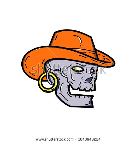 Mono line illustration of a pirate skull wearing a cowboy  hat and earring looking to side on isolated background done in monoline style.  #pirate #monoline #illustration