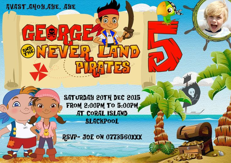Personalised  Party Invitations or thank you cards pirate jake and neverland X8