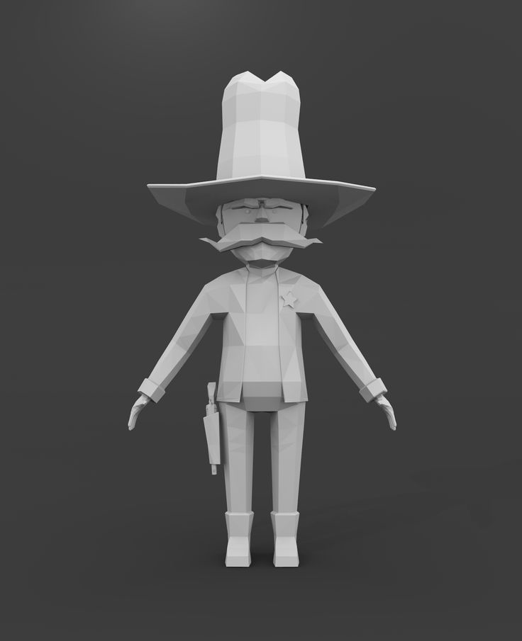 """The Sheriff"" - Kind of low poly character"