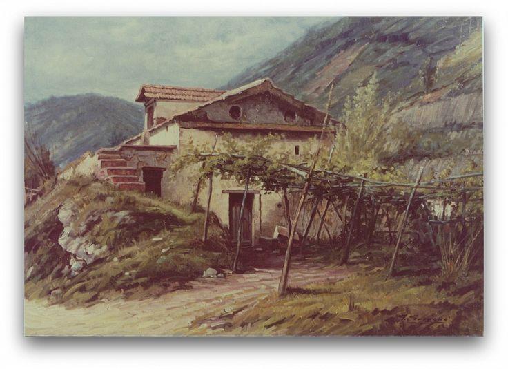 Vecchio casolare by giuseppe gorgero  Dipinto ad olio di antico casolare in periferia di Maiori SA