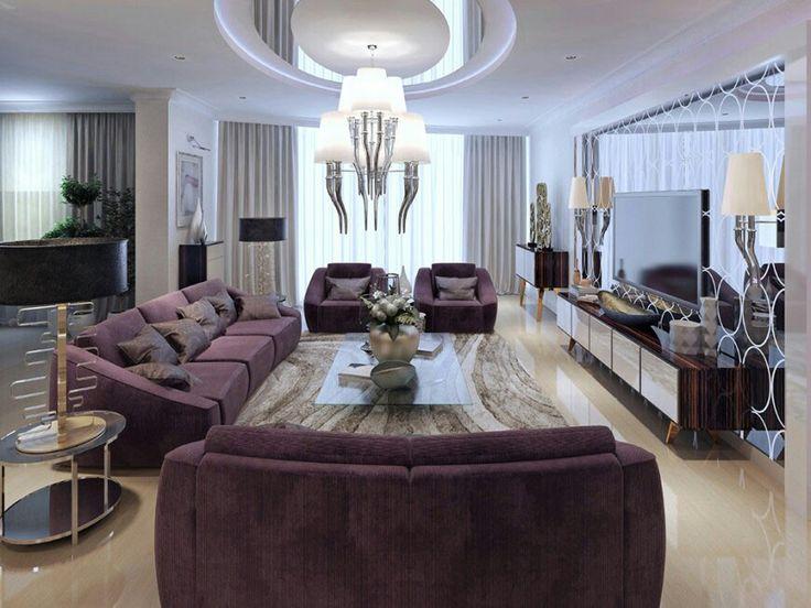 Living Room Purple Sofa