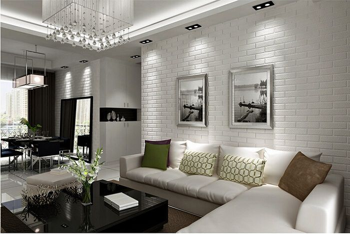 10 Strategies To Apply White Brick Wall In Various Rooms Archlux Net Brick Wall Living Room White Brick Wall Living Room Brick Interior