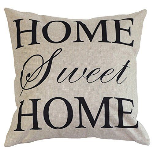 Onker Cotton Linen Square Decorative Throw Pillow Case Cushion Cover 18 x 18 Home Sweet Home Love in Simple Words -- See this great product.
