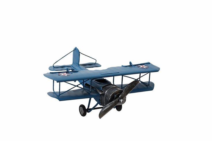 Vintage Yang's Style Metal Model Airplane Navy