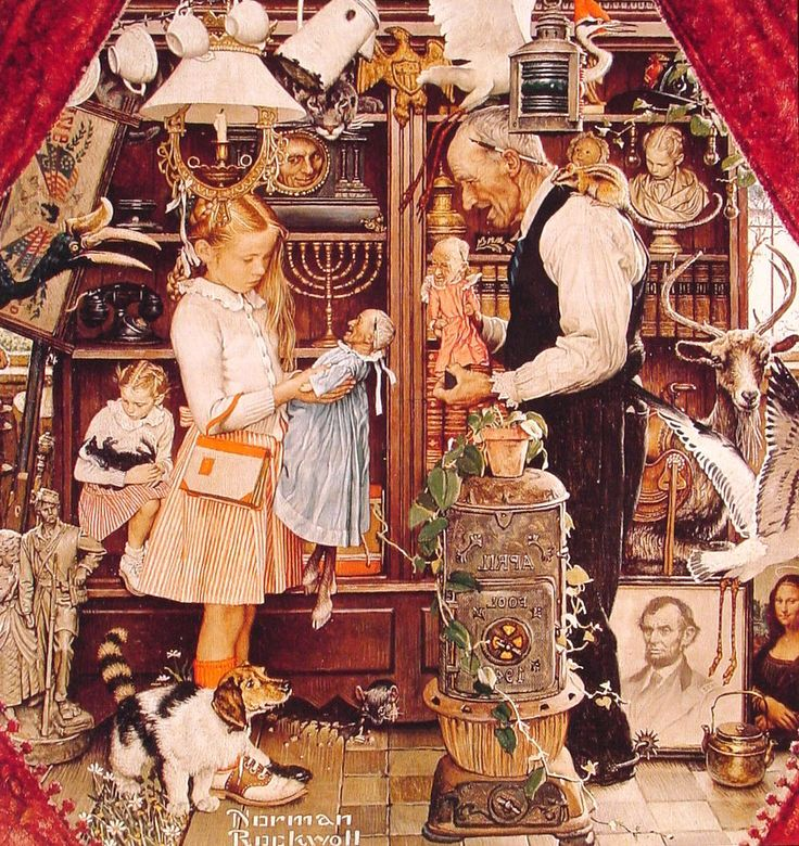 April Fool Girl with Shop Keeper, Norman Rockwell, 1948 - The idea of this painting was to find all the little mistakes in it, such as her hair being half up/half down. Description from pinterest.com. I searched for this on bing.com/images
