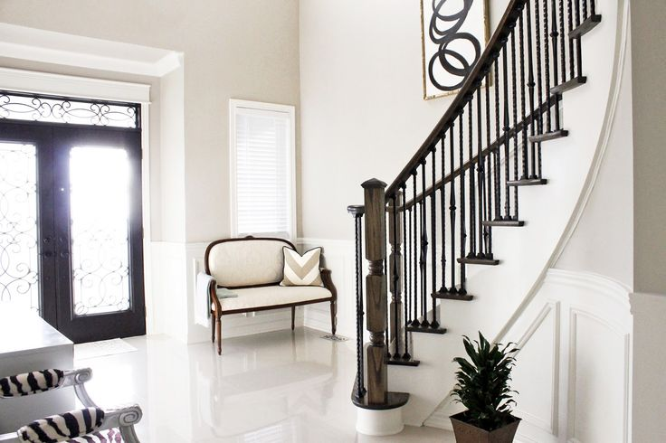 Painting Foyer Stairs : Front entrance curved staircase foyer settee black