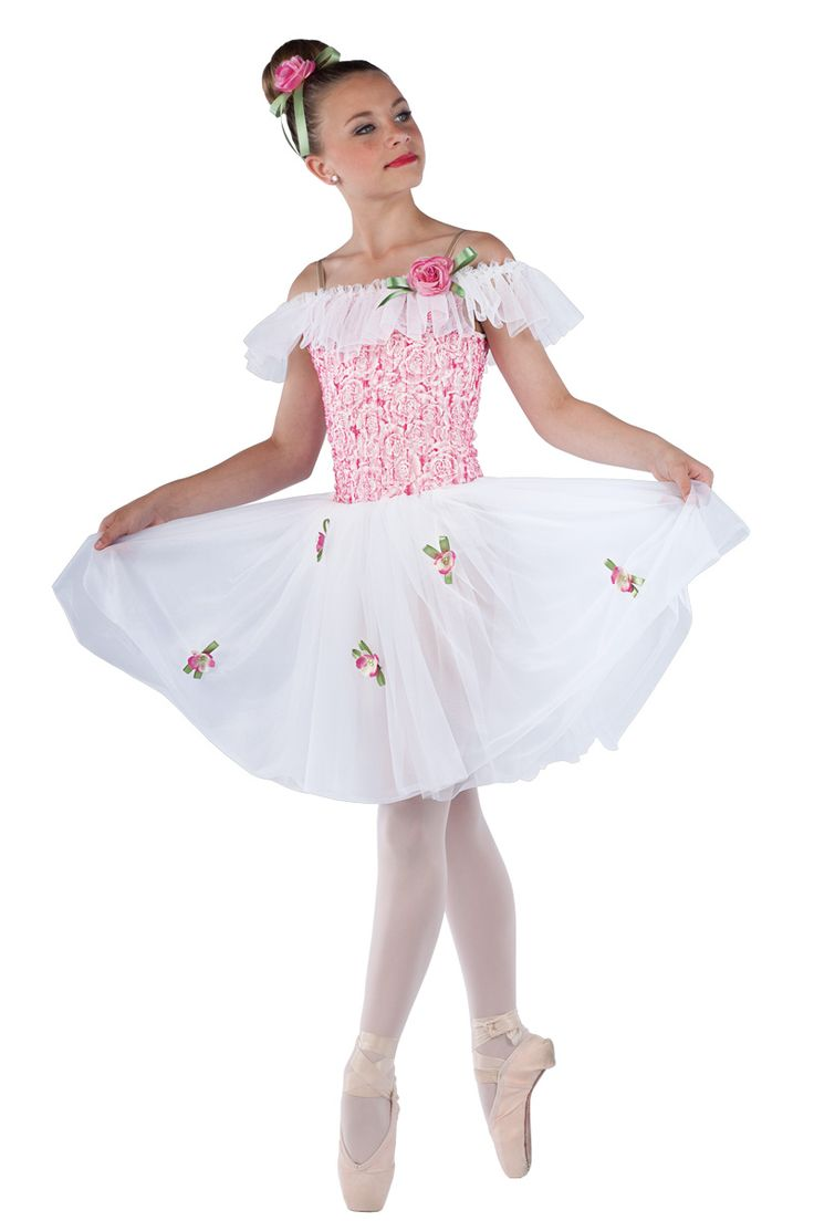 15420 My Only Wish | Ballet Pointe Dance Costumes | Dansco 2015 | Floral printed ribboned White chiffon ruffle, sage ribbon and flower on pin trim. Headpiece and flowers for skirt included. MAYPOLE