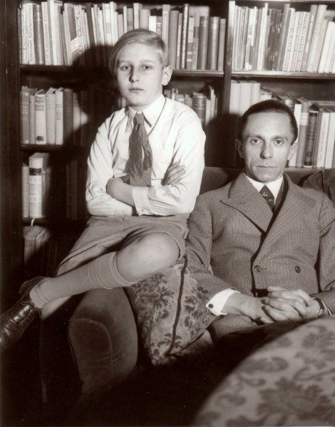 Joseph Goebbels with his stepson Harald Quandt (1 November 1921, Charlottenburg – 22 September 1967, Cuneo, Italy)