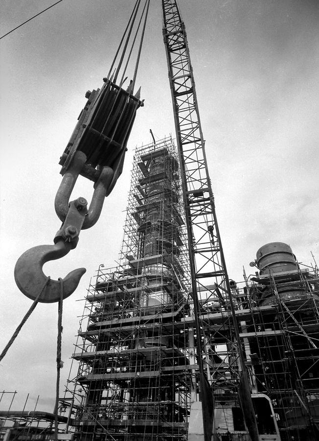 Australian Oil Refineries (AOR), Kurnell construction progress shows crane, January 1955. Max Dupain photo.