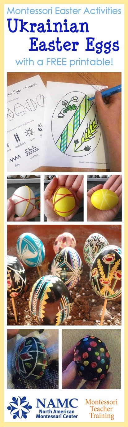 Not for use in the atrium, but a possible home link or Lenten activity for children would be to explore the  symbolism of pysanky. Dots for the Virgin's tears, cross hatching for the nets of the fisherman called by Christ, a rooster for the resurrection: the images are all related to the Paschal mystery. Here is a post on traditional Ukrainian Easter eggs from NAMTA. Activities for both preschool and elementary classrooms, as well as including a complimentary printable for you to enjoy!