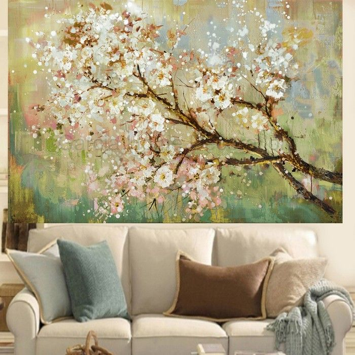 Hand Painted Modern Beautiful Flower On The Tree Oil Painting Home Decoration Living Room Wall Art