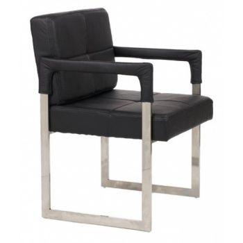 Кресло Aster Chair черное кожаное