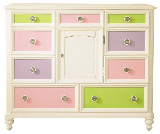 Pawsitively Yours Bureau With 9 Drawers contemporary-kids-dressers-and-armoires Includes four interchangeable panels Door with exchangeable panel Adjustable shelf Pull out storage tray English dovetail drawer construction adds stability and durability Full extension ball bearing roller guides and stops provide easy access for small hands Prevent injury from drawers tipping and falling from case