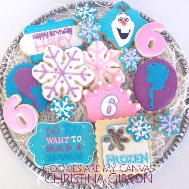Cookies Frozen de Disney;  Parti congelés;  Parti de bonhomme de neige;  Olaf;  Anna;  Elsa;  biscuits flocon de neige;  biscuits décorés;  Laisser aller