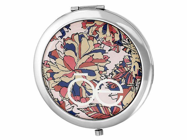 Espejo Metálico Rosa y Flores Cloe