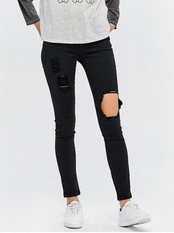 High Rise Ripped Bodycon Jeans