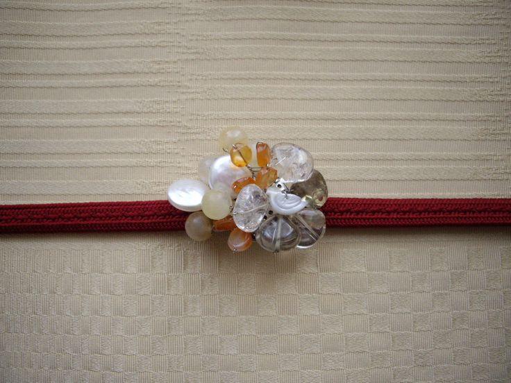 Bird Obidome, Kimono accessory, Gemstone brooch, Orange gems, Smoky quartz, Shell bird, Japanese style, Japan lover gift, Kimono jewelry by WAYOKO on Etsy