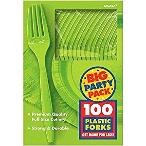 Amazon.com | Amscan Big Party Pack 100 Count Mid Weight Plastic Forks, Kiwi: Childrens Party Tableware: Fish Plates