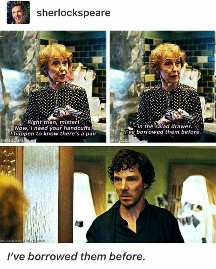 "Mrs Hudson is savage   His face, though! He's like, ""that's an image I'll be deleting from my mind."""