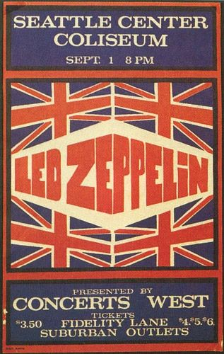 ☮ American Hippie Music Concert Poster ~ Led Zeppelin Seattle Concert Poster 1970