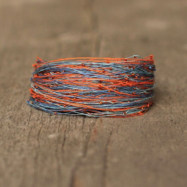 Colorful Bracelet, Natural Linen Armband, Multicolor Bracelet Blue Orange, Gift for Girlfriend, Magnetic Bracelet, Organic Gift by Naryajewelry on Etsy