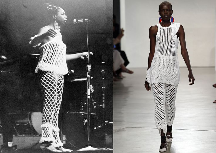 Nina Simone - Coincident with the #freethenipple movement was the appearance of transparency—and nudity—on the catwalks this year. At Proenza Schouler's spring show, a fiesta of Latin influences, the designers preferred tease was a thick mesh that recalled not only fishmermen's nets, but seemed to nod to a knockout ensemble once worn by Nina Simone, the subject of a popular Netflix documentary released in 2015.