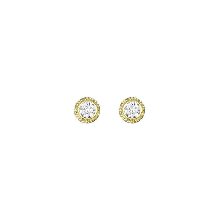 Penny Preville 18kt Yellow Gold Twist Bezel Set Diamond ...