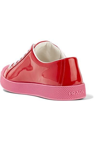 Prada - Patent-leather Sneakers - Red - IT36.5