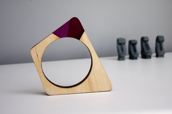 Super Breakout frosted acrylic and wood asymmetric bangle from Weasel Factory $21